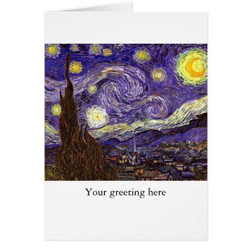 Starry Night painting by artist Vincent Van Gogh Greeting Cards