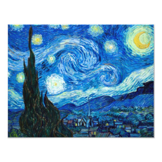 """Starry Night Painting By Painter Vincent Van Gogh 4.25"""" X 5.5"""" Invitation Card"""