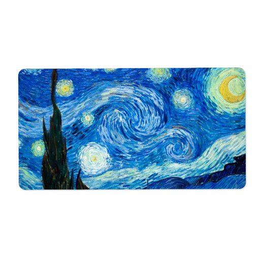 Starry Night Painting By Painter Vincent Van Gogh Personalized Shipping Label