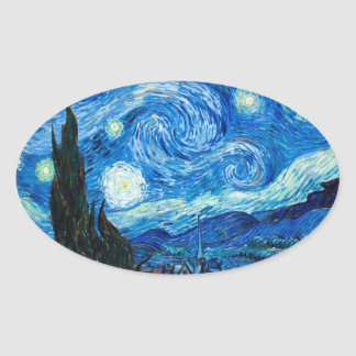 Starry Night Painting By Painter Vincent Van Gogh Oval Sticker