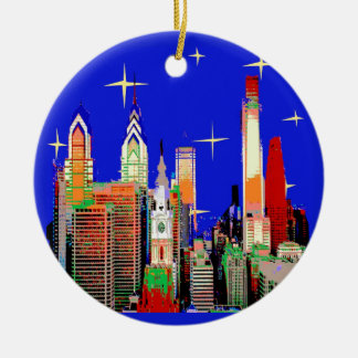 Starry Night Philadelphia, Abstract Sky with Stars Ceramic Ornament