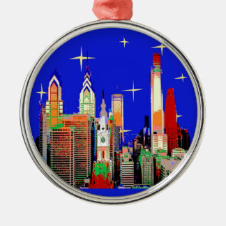 Starry Night Philadelphia, Abstract Sky with Stars Metal Ornament