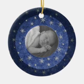 Starry Night Photo Keepsake Ceramic Ornament