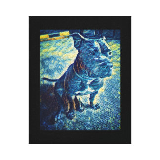 Starry night pit bull canvas print