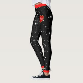 Starry Night Red Hearts Black Leggings (custom.)