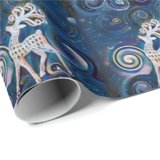 Starry Night Reindeer Wrapping Paper