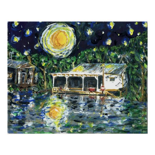 Starry Night River Camp Posters