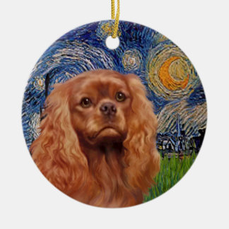 Starry Night - Ruby Cavalier King Charles Round Ceramic Ornament