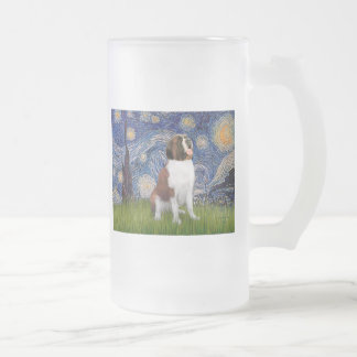 Starry Night- Saint Bernard Frosted Glass Beer Mug