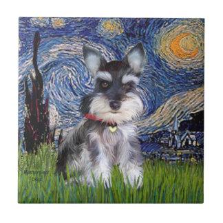 Starry Night - Schnauzer Puppy #10 Ceramic Tiles