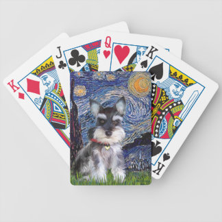 Starry Night - Schnauzer Puppy Bicycle Playing Cards