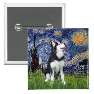 Starry Night - Siberian Husky #1 2 Inch Square Button