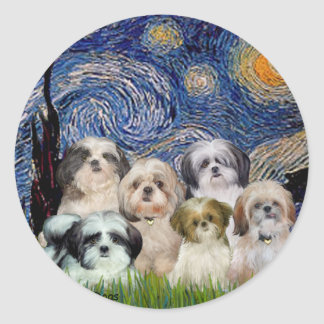Starry Night - Six Shih Tzus Classic Round Sticker