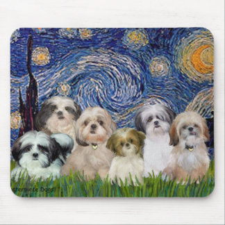 Starry Night - Six Shih Tzus Mouse Pad
