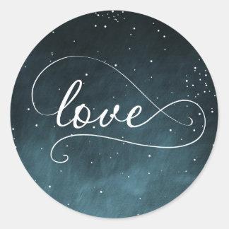 Starry Night Sky Navy Love Sticker
