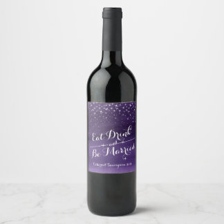 Starry night sky wedding drink wine labels
