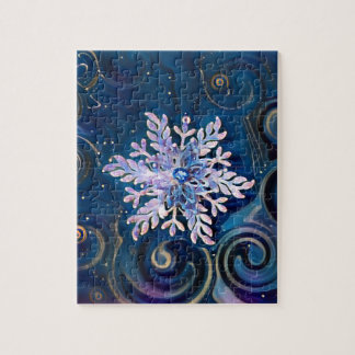 Starry Night Snowflake Jigsaw Puzzle