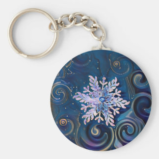 Starry Night Snowflake Keychain