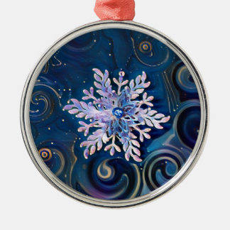 Starry Night Snowflake Metal Ornament
