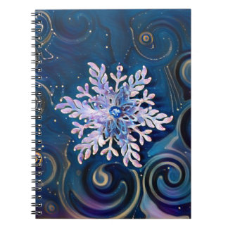 Starry Night Snowflake Spiral Notebook