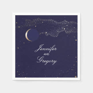 Starry Night Stars Navy and Gold Wedding Paper Napkin