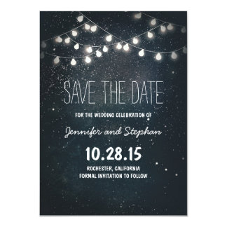 "Starry Night String Lights Save the Date 4.5"" X 6.25"" Invitation Card"