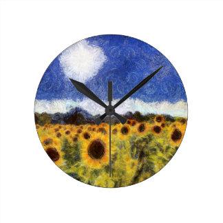 Starry Night Sunflowers Clock