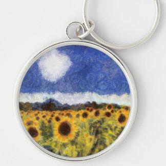 Starry Night Sunflowers Keychain