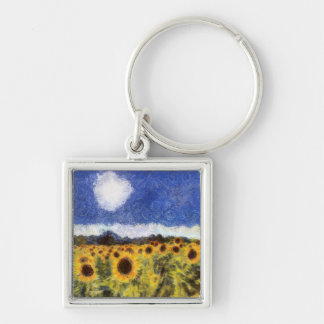 Starry Night Sunflowers Keychain