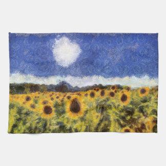 Starry Night Sunflowers Kitchen Towel