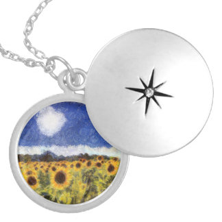 Starry Night Sunflowers Locket Necklace