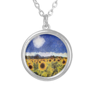 Starry Night Sunflowers Silver Plated Necklace