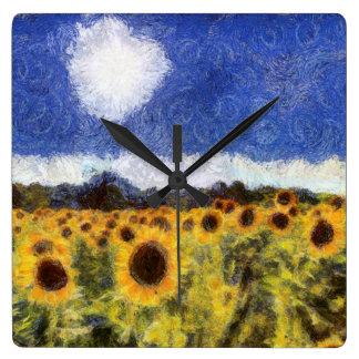 Starry Night Sunflowers Wallclocks