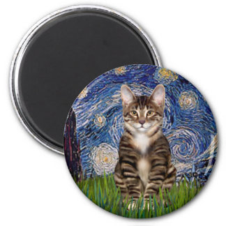 Starry Night - Tabby Tiger cat 30 2 Inch Round Magnet