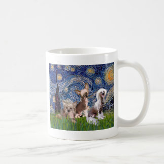 Starry Night - Three HL Chinese Cresteds Coffee Mug