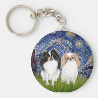 Starry Night - Two Japnaese Chins (BW+L) Keychain