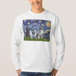Starry Night - Two Keeshonds T-Shirt