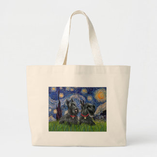 Starry Night - Two Scottish Terriers Large Tote Bag
