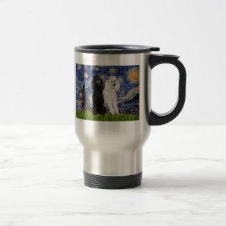 Starry Night - Two Standard Poodles Travel Mug