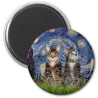 Starry Night - Two Tabby Tiger Cats 2 Inch Round Magnet