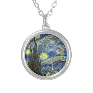Starry Night, Van Gogh Silver Plated Necklace