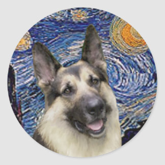 Starry Night (Vertical) - German Shepherd 9 Round Sticker