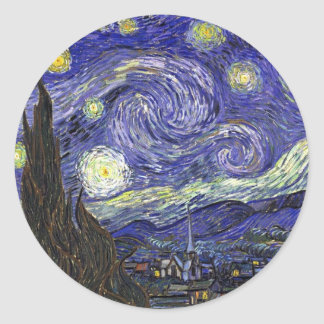 Starry Night, Vincent Van Gogh. Classic Round Sticker