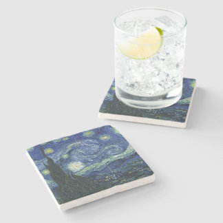Starry Night Vincent van Gogh Fine Art Painting Stone Coaster
