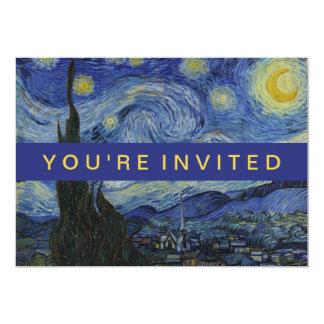 "Starry Night Vincent van Gogh Painting 5"" X 7"" Invitation Card"