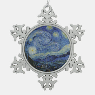 Starry Night Vincent van Gogh Pewter Snowflake Ornament