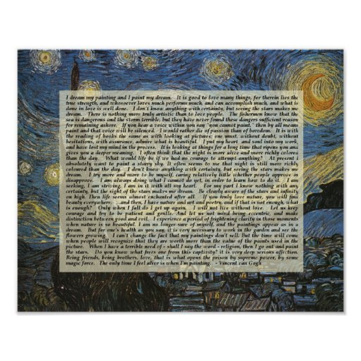 Starry Night Vincent's Words Artist Print