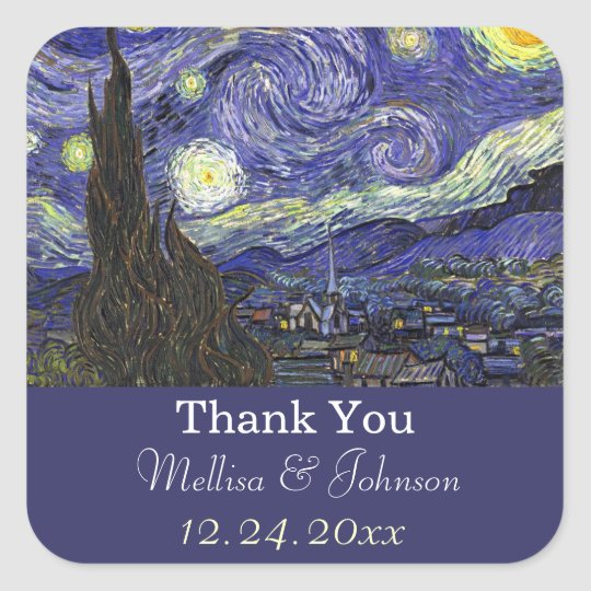 Starry Night  wedding favour thank you stickers