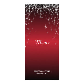 Starry Night Wedding in a Romantic Dark Red Customized Rack Card