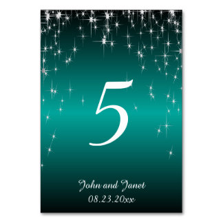 Starry Night Wedding in Color   Metallic Teal Card